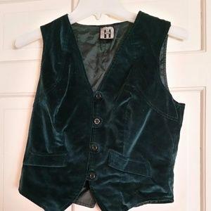 Mushroom Green Velvet Vest Jr. Size Small